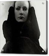 Greta Garbo Wearing A Black Dress Acrylic Print