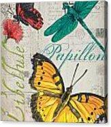 Grey Postcard Butterflies 3 Acrylic Print