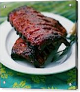Grilled Ribs On A White Plate Acrylic Print