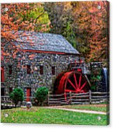 Grist Mill In Autumn Acrylic Print