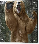 Grizzly Bear Attack On The Trail Acrylic Print