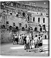 Groups Of Tourists And Guides In The Main Arena Of The Old Roman Colloseum At El Jem Tunisia Acrylic Print