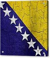 Grunge Bosnia And Hertzegoniva Flag Acrylic Print