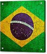 Grunge Brazil Flag Acrylic Print
