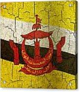 Grunge Brunei Flag Acrylic Print