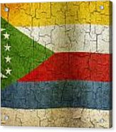 Grunge Comoros Flag Acrylic Print
