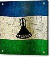 Grunge Lesotho Flag Acrylic Print