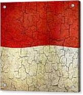 Grunge Monaco Flag Acrylic Print