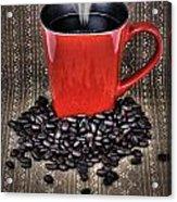 Grunge Red Coffee Mug And Beans Acrylic Print