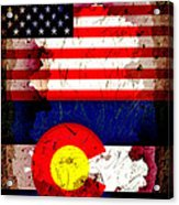 Grunge Style Usa And Colorado Flags Acrylic Print