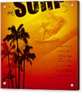 Grunge Surf Poster With Palms And Sunset Acrylic Print
