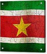 Grunge Suriname Flag Acrylic Print