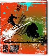 Grunge Winter Background With Skier Acrylic Print