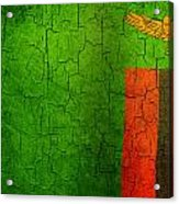 Grunge Zambia Flag Acrylic Print