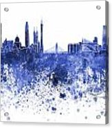 Guangzhou Skyline In Blue Watercolor On White Background Acrylic Print