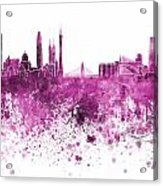 Guangzhou Skyline In Pink Watercolor On White Background Acrylic Print