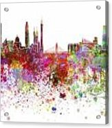 Guangzhou Skyline In Watercolor On White Background Acrylic Print