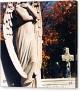 Guardian Angel Statue With Cemetery Cross Acrylic Print