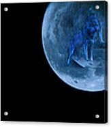 Guardian Wolf In The Moon Acrylic Print