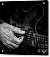Guitar And Hand Bw Acrylic Print