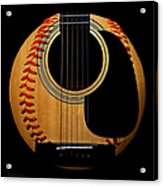 Guitar Baseball Square Acrylic Print by Andee Design