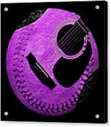 Guitar Grape Baseball Square Acrylic Print