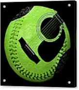 Guitar Keylime Baseball Square  Acrylic Print