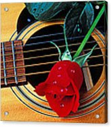 Guitar With Single Red Rose Acrylic Print