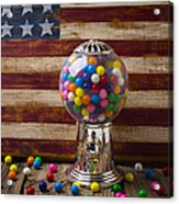 Gumball Machine And Old Wooden Flag Acrylic Print by Garry Gay