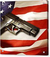 Gun On Flag Acrylic Print by Les Cunliffe