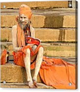Guru On Ganges Acrylic Print