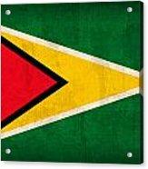 Guyana Flag Vintage Distressed Finish Acrylic Print