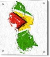 Guyana Painted Flag Map Acrylic Print