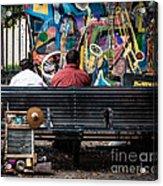 Guys On A Bench - Jackson Square Acrylic Print