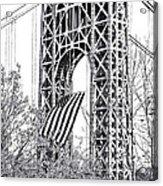 Gw Bridge American Flag In Black And White Acrylic Print