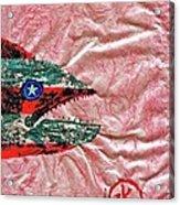 Gyotaku- 4th July - Spanish Mackerel- Bubble Gum Pink Acrylic Print by Jeffrey Canha