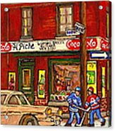 H. Piche Grocery - Goosevillage -paintings Of Montreal History- Neighborhood Boys Play Street Hockey Acrylic Print