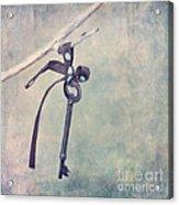 Key With A Ribbon Acrylic Print
