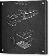 Hair Straightener Patent From 1909 - Charcoal Acrylic Print