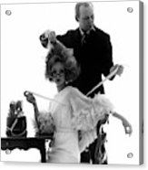 Hairstylist Kenneth Holding The Hair Of A Model Acrylic Print