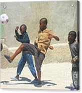 Haitian Boys Playing Soccer Acrylic Print