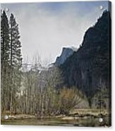 Half Dome And The Merced River In Winter Acrylic Print