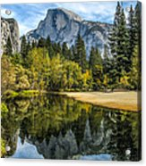 Half Dome Reflected In The Merced River Acrylic Print
