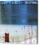 Half Frozen River Bank Acrylic Print