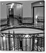 Hall And Stairs In Black And White Acrylic Print