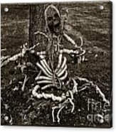 Halloween Green Skeleton Black And White Acrylic Print