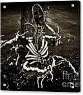Halloween Green Skeleton Vinette Black And White Acrylic Print