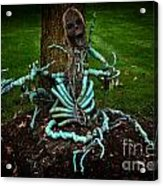 Halloween Green Skeleton Vinette Acrylic Print