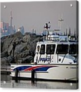 Halton Police Boat And Cn Tower Acrylic Print
