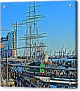 Hamburg Germany Sail Boat With Elbphilharmonie Acrylic Print